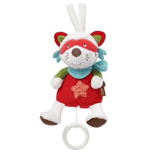 Fehn 067026 Mini-Spieluhr Waschbär/Kuscheltier mit integriertem Spielwerk mit sanfter Melodie zum Aufhängen an Kinderwagen, Babyschale oder Bett, für Babys und Kleinkinder ab 0+ Monaten