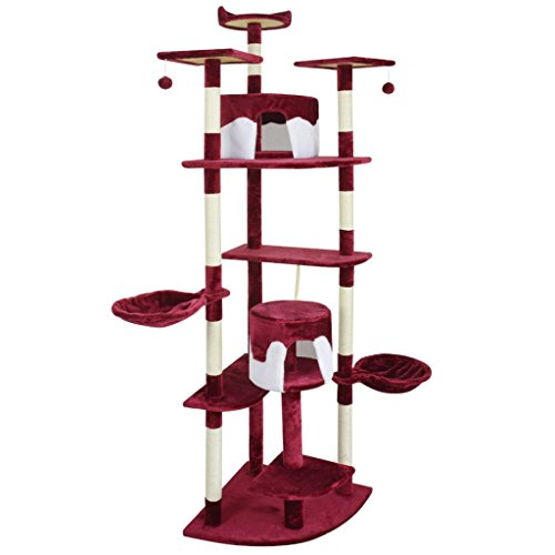 Festnight 213 cm Cat Play Tree Scratching Post Multi Level Cat Activity Centre