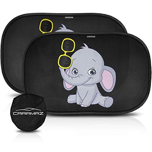CARAMAZ Kinder Auto Sonnenschutz für Seitenfenster XL Elefant (2 Stück – 51x31cm), Selbsthaftende Sonnenblenden zum Schutz Ihrer Kinder vor schädlichen UV-Strahlen, Baby Autosonnenschutz, Hitzeschutz