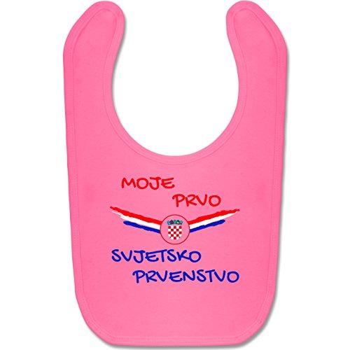 Shirtracer Fußball-Europameisterschaft 2020 - Baby - Meine erste WM Kroatien kroatisch - Unisize - Pink - BZ12 - Baby Lätzchen Baumwolle (Baby Rosa Fußball Kostüm)