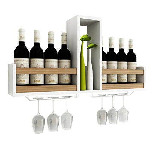 WSSF- Weinregale Wand Weinschrank Wand-montiert Red Wine Rack Modern Einfache Wohnzimmer Restaurant Storage & Organisation Haushalts-Display-Ständer Weinregale Farbe Optional-80 * 14,5 * 41 cm ( Farbe : White+Light walnut ) - Walnuss-wand Montieren