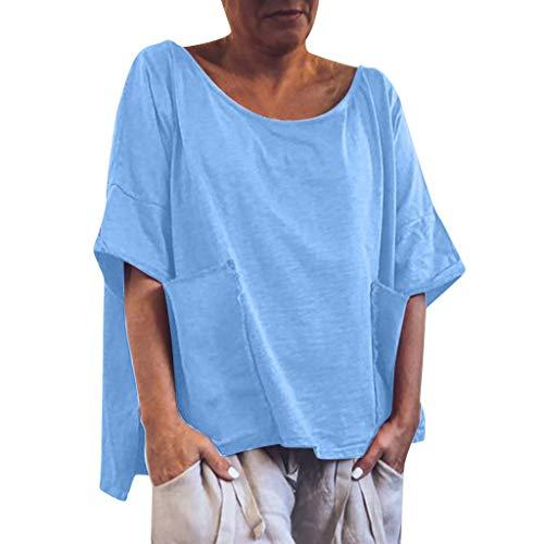 DIPOLA Damen einfarbig Leinen Tops Frauen Casual O-Neck T-Shirt Frauen einfarbig Manschettenknöpfe Shirt Top(Rot, Blau, Grün, Gelb)