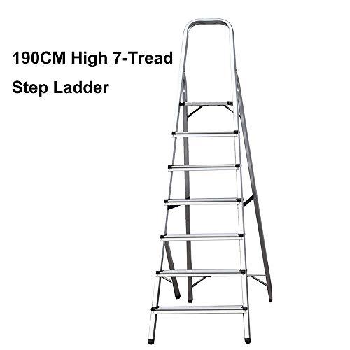 Escalera multifuncional de 7 peldaños con plataforma de 150 kg de capacidad, plegable, de aluminio...