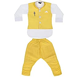 Kabeer Yellow Cotton Modi Jacket With Kurta & Pajama For 6 yrs Age