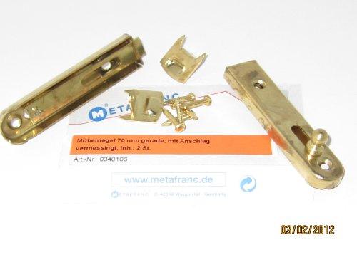 Preisvergleich Produktbild Möbelriegel 70 mm gerade,  mit Anschlag,  vermessingt,  2 Stk.,  0340106
