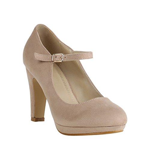 Damen Schuhe Plateau Pumps Lack Spangenpumps High Heels Blockabsatz 157224 Creme Brito 38 Flandell
