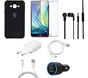 NIROSHA Tempered Glass Screen Guard Cover Case Charger Headphone USB Cable for Samsung Galaxy ON5 - Combo