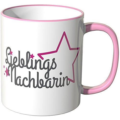 Wandkings Tasse, Schriftzug: Lieblingsnachbarin mit pinken Sternchen - ROSA
