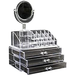 AVMART Cosmetic Organizer Makeup Storage Box Lipstick Holder Stand 3 Drawer with Mirror