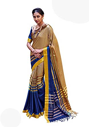 Golden Blue Color Cotton Blend Printed Saree with Border