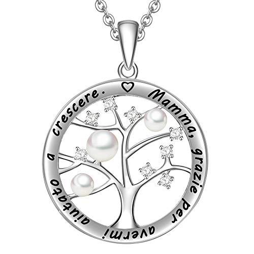 Lovords collana donna incisa argento sterling 925 pendente ciondolo albero della vita famiglia cerchio perla d'acqua dolce bianca 3-4mm regalo mamma madre