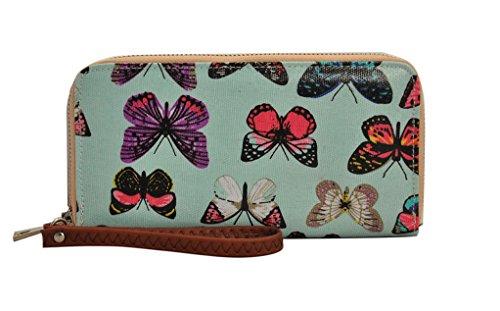 WAEHUI Original Gemälde Cute Animal Wax Kupplung Brieftasche Kartenhalter Veranstalter (Blauer Schmetterling) (Original-gemälde Blaue)