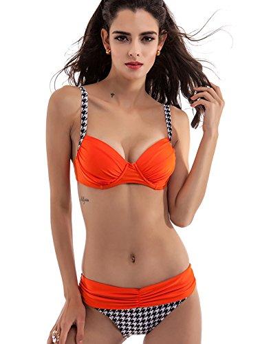 DATO Reggiseno Costume da Bagno Donne Triangolo Bikini Push Up arancia