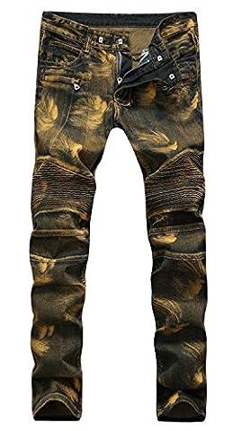 AIYINO Herren Biker Jeans Denim Slim Fit Jeanshose (34W / 33L, Golden)