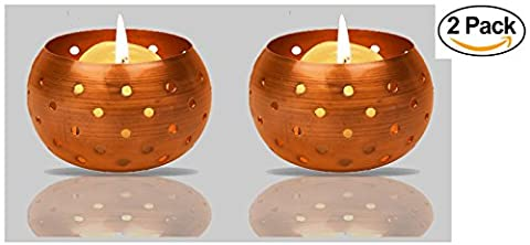 High Quality Copper Tealight Candle Holder Decoration - Aywav ® (2 Pack)