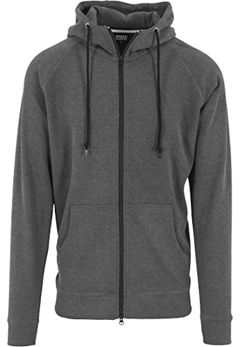Urban Classics Herren Sweatshirt Kapuzen-Zipper Heavy Interlock Raglan Hoody Charcoal