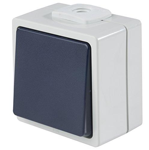 feuchtraum taster aufputz as - Schwabe Aufputzschalter Taster/Wechsler mit 2 Leitungseinführungen, IP 54 Aussenbereich, grau, 62452