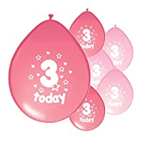 10 x 3RD BIRTHDAY GIRL/ AGE 3 GIRL LIGHT PINK AND PINK MIX PACK BIRTHDAY BALLOONS (PA)