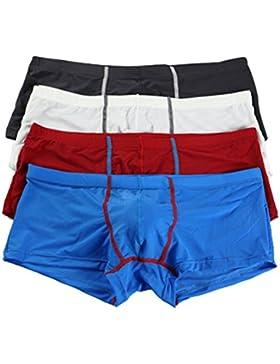 Seta Ghiacciata Morbido Pantaloncini Boxer Vita Bassa Asciugatura Veloce U Convesso Uomo Trunks 4 Pezzi