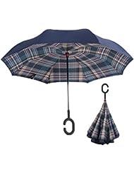 walsilk coupe-vent/Protection UV Envers, inversée Double Couche à l'intérieur pluie parapluie pliable en forme sans les mains Poignée de voyage compact parapluie