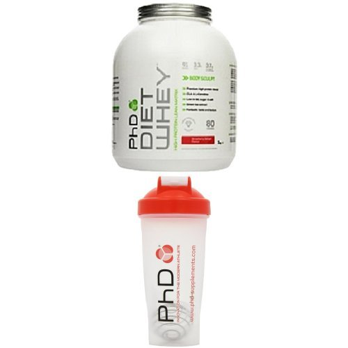 PhD Nutrition Diet Whey 2 kg Strawberry with PhD Mixball 600 ml Shaker