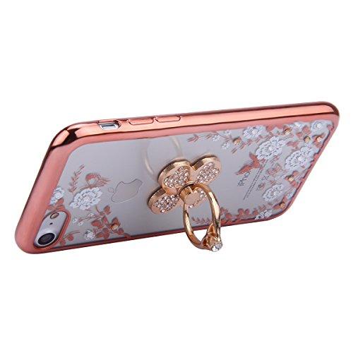 EUWLY Custodia per iPhone 6 Plus/iPhone 6s Plus (5.5), Cover Silicone Trasparente per iPhone 6 Plus/iPhone 6s Plus (5.5), EUWLY Clear Cristallo Chiaro Diamante Bling Glitter Fiori di Ciliegio Modell Fiori Bianco+Anello Foglia,Oro Rosa