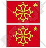 OKZITANIEN Gebiet Okzitanisch Flagge Okzitanien Frankreich 75mm Auto & Motorrad Aufkleber, x2 Vinyl Stickers