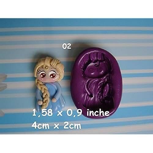 figuras kawaii porcelana fria Molde de silicona princesa Fimo, porcelana fria, fondant