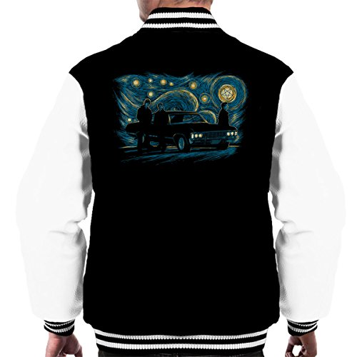 Supernatural Van Gogh Inspired Art Night Scene Men's Varsity Jacket (Supernatural Deans Jacke)