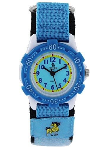Crystal blue Kids Kinder Armbanduhr Mädchen Pferd Klettband Lernuhr Analog Quarz blau 22174