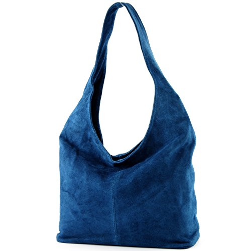 Borsa a mano borsa a tracolla shopping bag donna in vera pelle italiana T02 Jeansblau