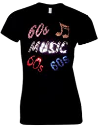 RBS-Printing 60s Sixties Music Ladies Fitted T Shirt - Rhinestud Design - Rock and Roll - Disco - Fancy Dress - (Size 8 To 16)