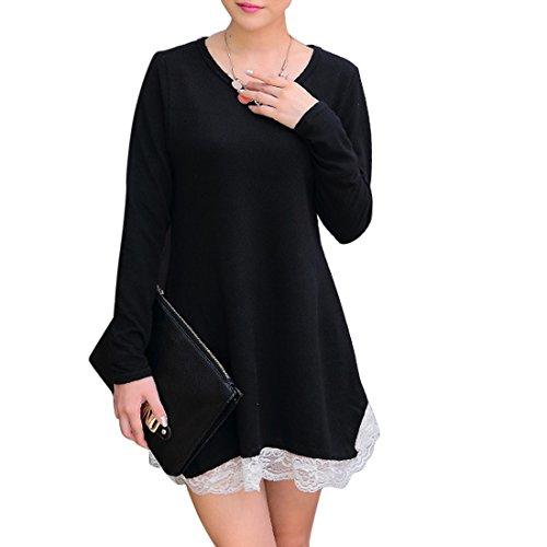 Vertvie Damen Stricken Spitzen Lace Langarm Jumper Mini Strickkleid  Sweatshirt Basic Casual Dress Pullover Kleid Schwarz