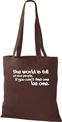 Tote Bag Shirtstown Detti Divertenti Il mondo È Pieno Di Belle Persone ... Molti Colori Di Marrone