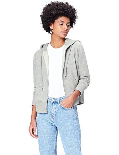 FIND Damen Kapuzenpullover mit Reißverschluss Grau (Grey Grey Marl), 38 (Herstellergröße: Medium)