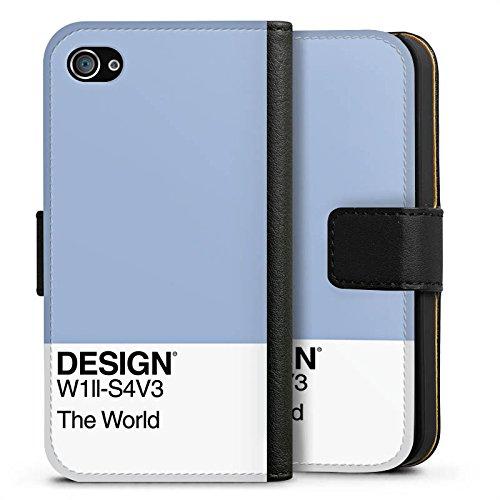 Apple iPhone SE Tasche Hülle Flip Case Pantone Pastell Blau Sideflip Tasche schwarz