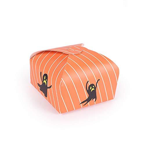Comfot 50 Pcs Candy Boxes Halloween Party Geschenkpapier Beutel Trick Candy Kekse Kuchen Box Verpackung Für Festival-Party,Orange