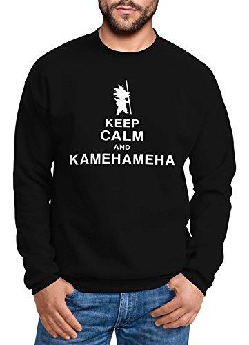 Herren Keep Calm and Kamehameha Son Goku Dragonball Pullover ohne Kapuze schwarz L ()