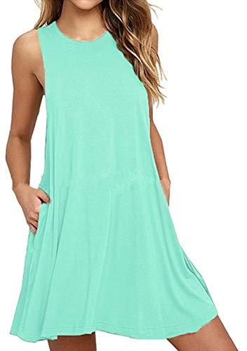 OMZIN Damen Casual Sommer Ärmellos Taschen Stretchy Tee Shirt Kleid,Mintgrün, L