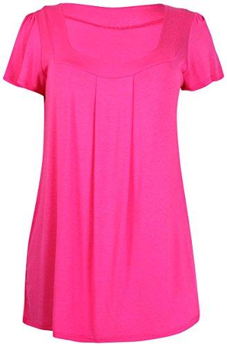 Damen Plus Größe Kurz Arm Damen Stretch Geformt Hals Geraffte langes T-Shirt Einfarbig Oberteile Kirschrot