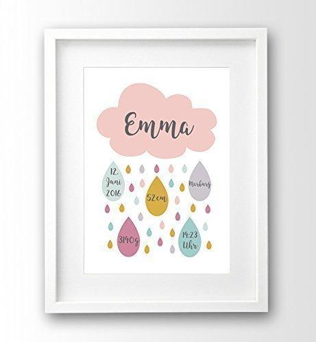 Geburtsanzeige personalisiert ungerahmt A4, Wolke rosa, Geschenk Geburt Taufe Mädchen, Geburtsdruck 3