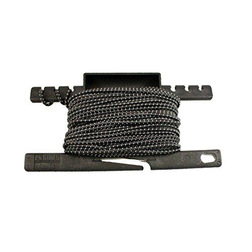 PSKOOK Reflective Shock Bungee Corde elastiche con un Attrezzo Multifunzione per la Sopravvivenza All\'aria Aperta Campeggio Escursionismo 1/8 inch 3mm 50FT(Nero)
