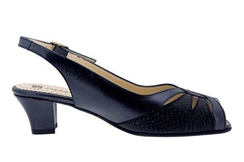 Scarpe donna comfort pelle Piesanto 4015 sandali di sera comfort larghezza speciale Negro/Pitón