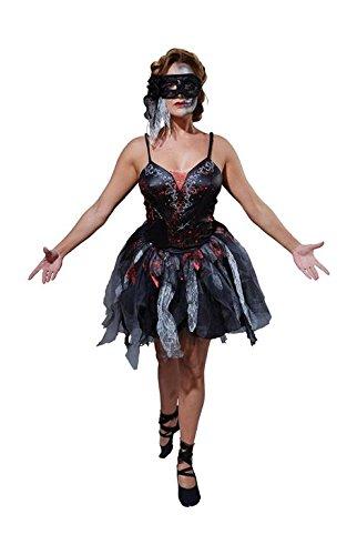 Rubie's Offizielles Dead Ballerina schwarz Kleid Kostüm Halloween Zombie Erwachsene Damen Medium