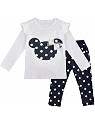 FEESHOW Chicas Conjuntos de bebé Camiseta de Manga Larga del arco +Pantalón
