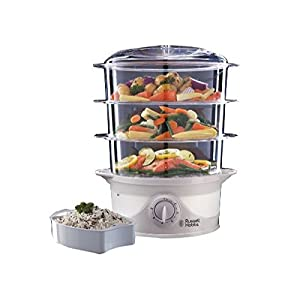 Russell Hobbs 21140 Three Tier Food Steamer, 9 L, 800 W - White