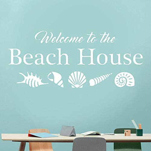 Willkommen in der Strand Haus Wandtattoo Muscheln Muscheln Home Urlaub Vinyl Aufkleber Zitat Ocean Sea Life Thema Dekoration 99 * 42 cm
