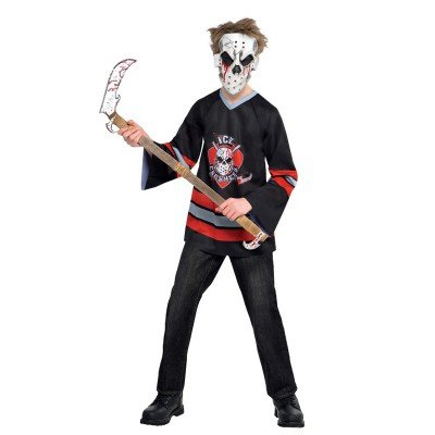 New Amscan Kids Halloween Bloody Face Off Hockey Player Boys Fancy Dress Costume - 12-14 Years