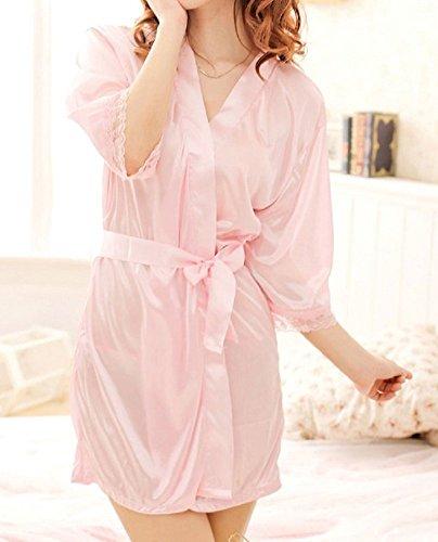 Shangrui Femmes de la Série Uniforme Peignoir de soie glacée pink