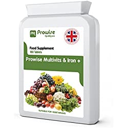 Multi Vitamins & Iron 180 Tablets (dose of 6 months) - Daily supplement of multivitamins One A Day - Made in UK at guaranteed GMP quality - Suitable for vegetarians